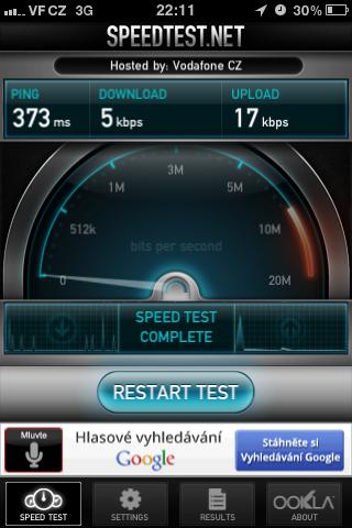 Screen rychlosti Vodafone internetu po překročení FUP
