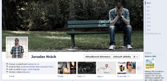 Screenshot mé vlastní Timeline na Facebooku